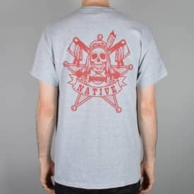 Law Skate T-Shirt - Heather Grey/Red