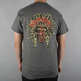 Native Zombie Chief Skate T-Shirt - Charcoal
