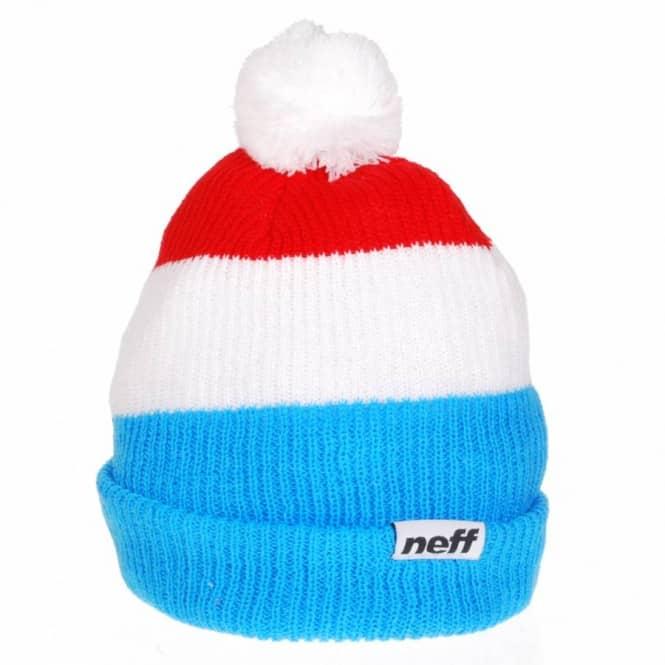 6e66b469 Neff Snappy Pom Pom Beanie - Blue/White/Red