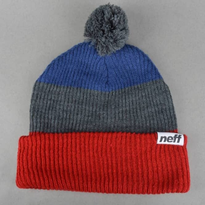 a24d08850 Neff Snappy Pom Pom Beanie - Red/Grey/Navy