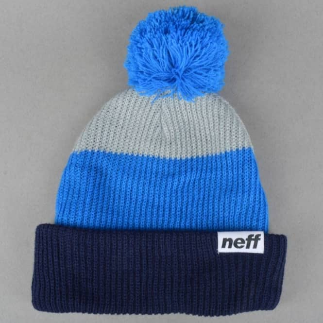 a5ea3f896 Snappy Pom Pom Beanie - Navy/Blue/Grey