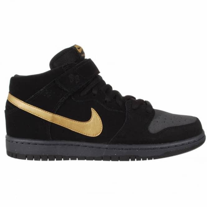 new style c710b d61ba Nike SB Nike Dunk Mid Pro SB Skate Shoes - Dark Obsidian/Metallic  Gold-Thunder Black-Sail