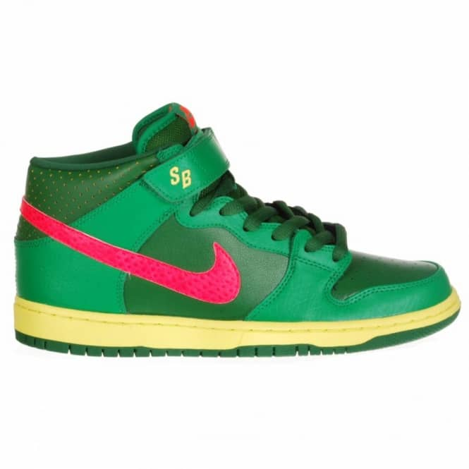 Nike SB Nike Dunk Mid Pro SB Skate Shoes - Lucky Green/Atomic Red Fortress Green