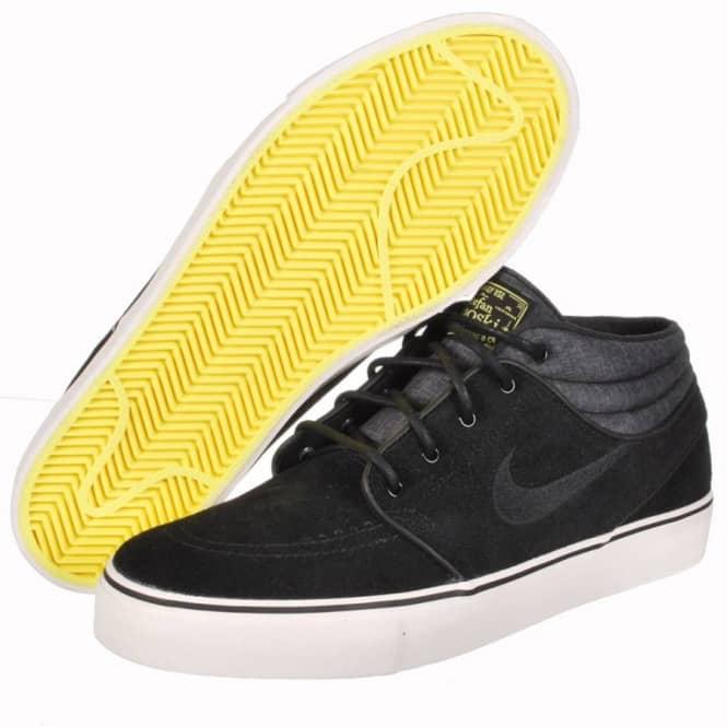 best service 3934d 4b938 Nike Janoski Mid Skate Shoes - Black Black-Electric Yellow