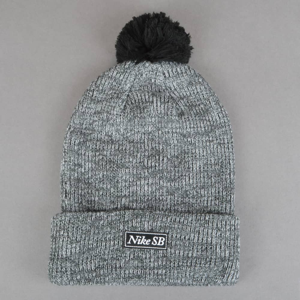 d3b3b1b76e9 Nike SB 2-In-1 Marl Pom Pom Beanie - Black - SKATE CLOTHING from ...