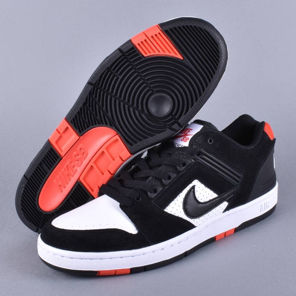 5413218fb34f6 Air Force 2 Low Skate Shoes - Black/Black-White Habanero Red