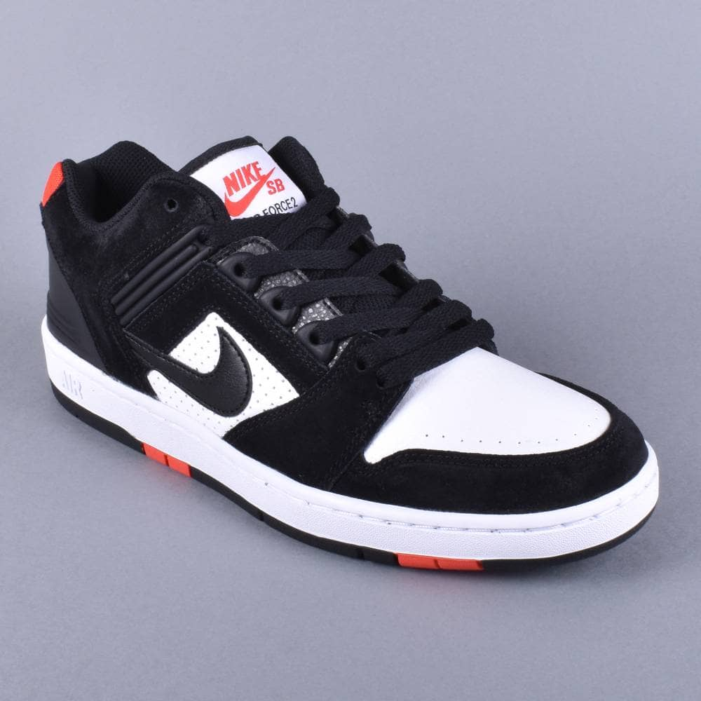 Air Force 2 Low Skate Shoes BlackBlack White Habanero Red