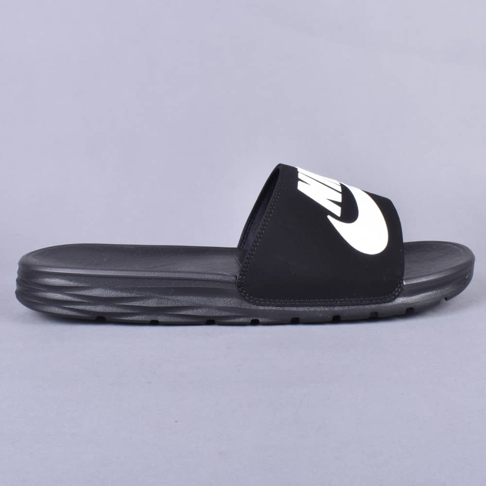 28385edd4c7dd Nike SB Benassi Solarsoft SB Slides - Black White - SKATE SHOES from ...