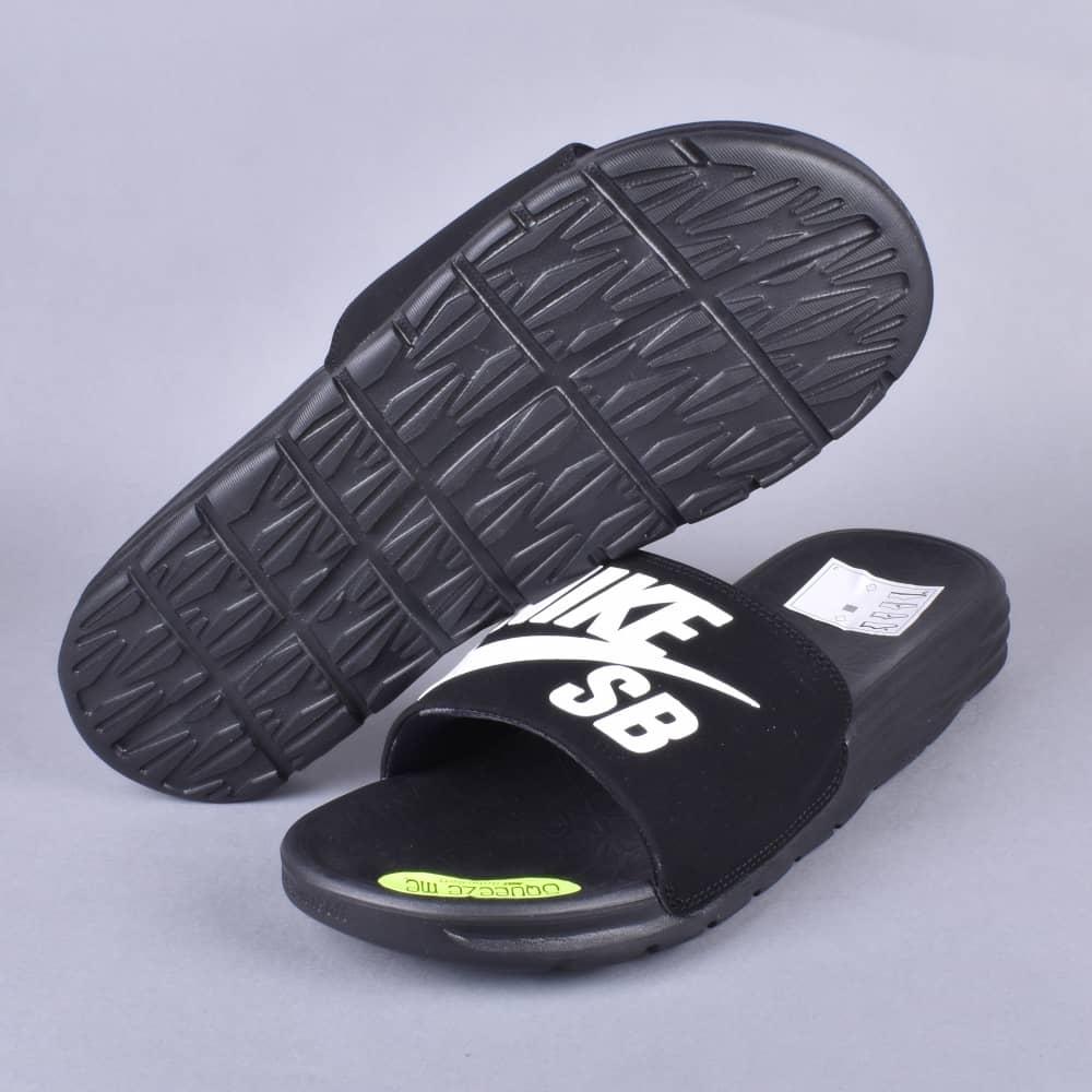 addeed5622ad49 Nike SB Benassi Solarsoft SB Slides - Black White - SKATE SHOES from ...