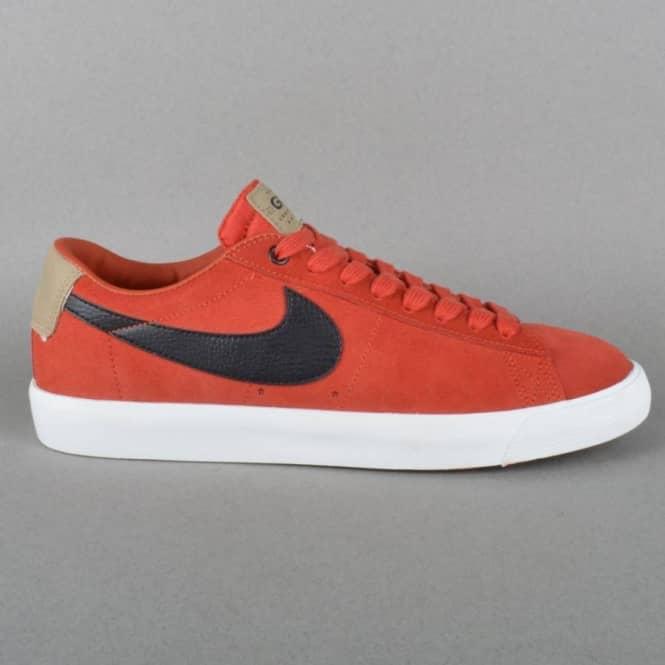 fd8fa9fc98ee9 Nike SB Blazer Low GT QS Skate Shoes - Cinnabar Black - Bamboo ...