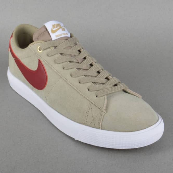 447795260d484 Nike SB Blazer Low GT Skate Shoes - Bamboo Team Red-White - SKATE ...