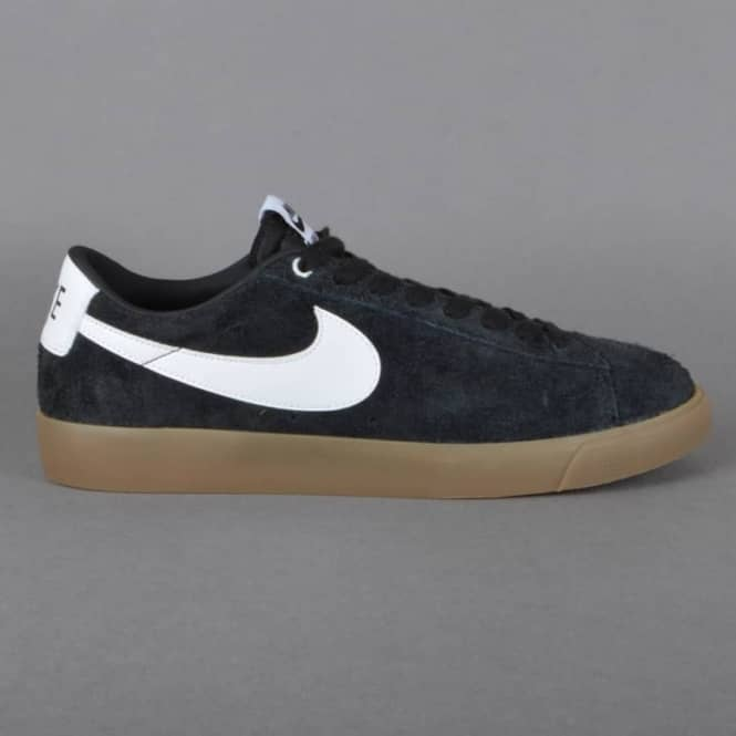 f2a312621abcb4 Nike SB Blazer Low GT Skate Shoes - Black White-Metallic Gold ...
