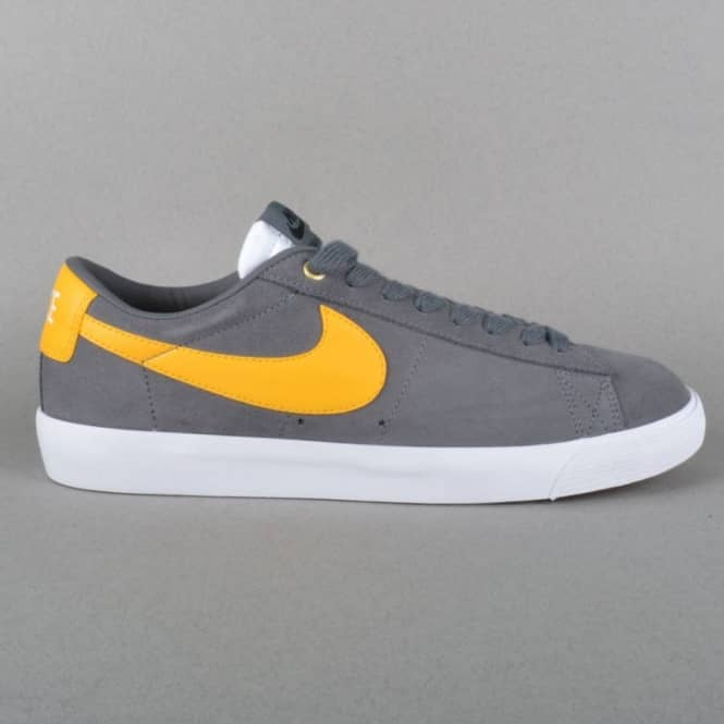 6667aab7bc8a Blazer Low GT Skate Shoes - Dark Grey University Gold - White Gum Light  Brown