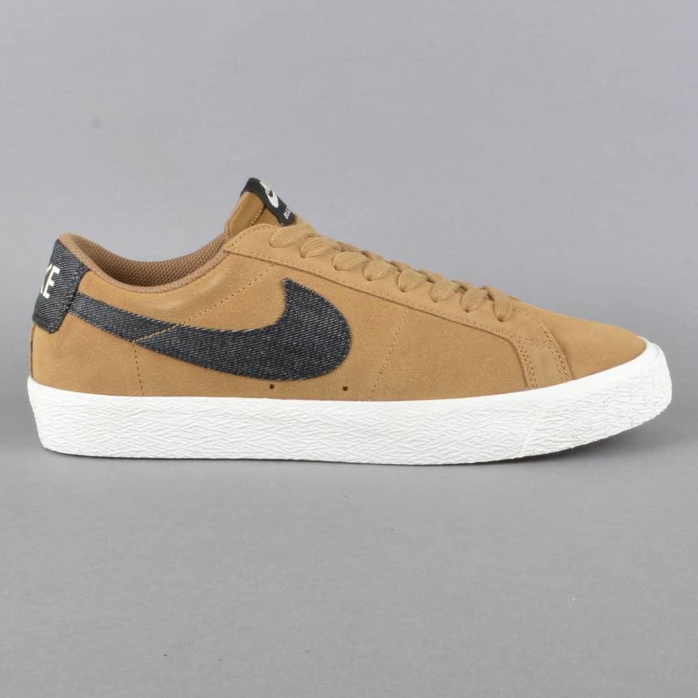 Nike SB Blazer Zoom Low Skate Shoes - Golden Beige/Black-Sail ...