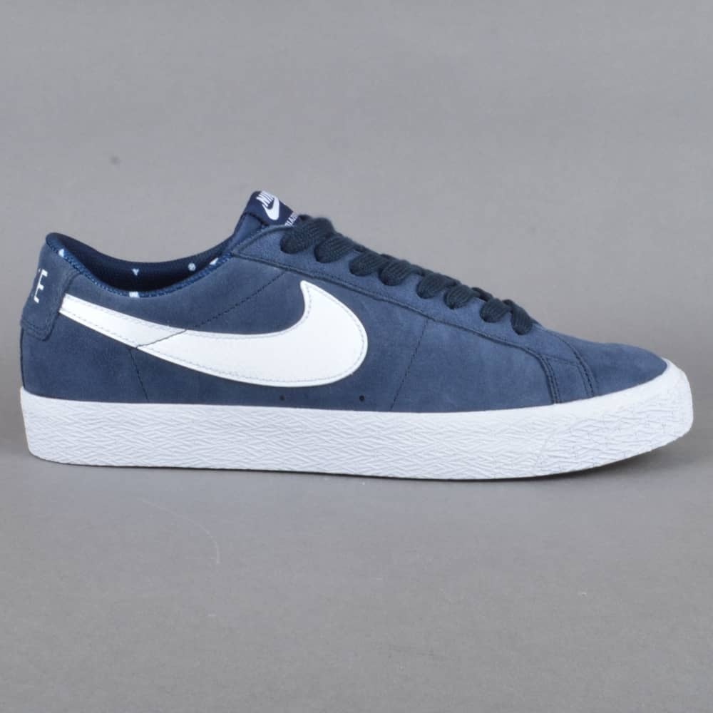 afc208877350 Nike SB Blazer Zoom Low Skate Shoes - Obsidian White-Gum Light Brown ...