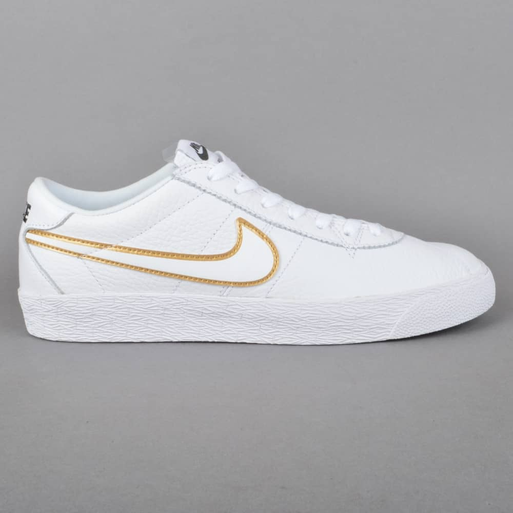 48976fd4b967 Nike SB Bruin Zoom PRM SE Skate Shoes - White White-Metallic Gold ...