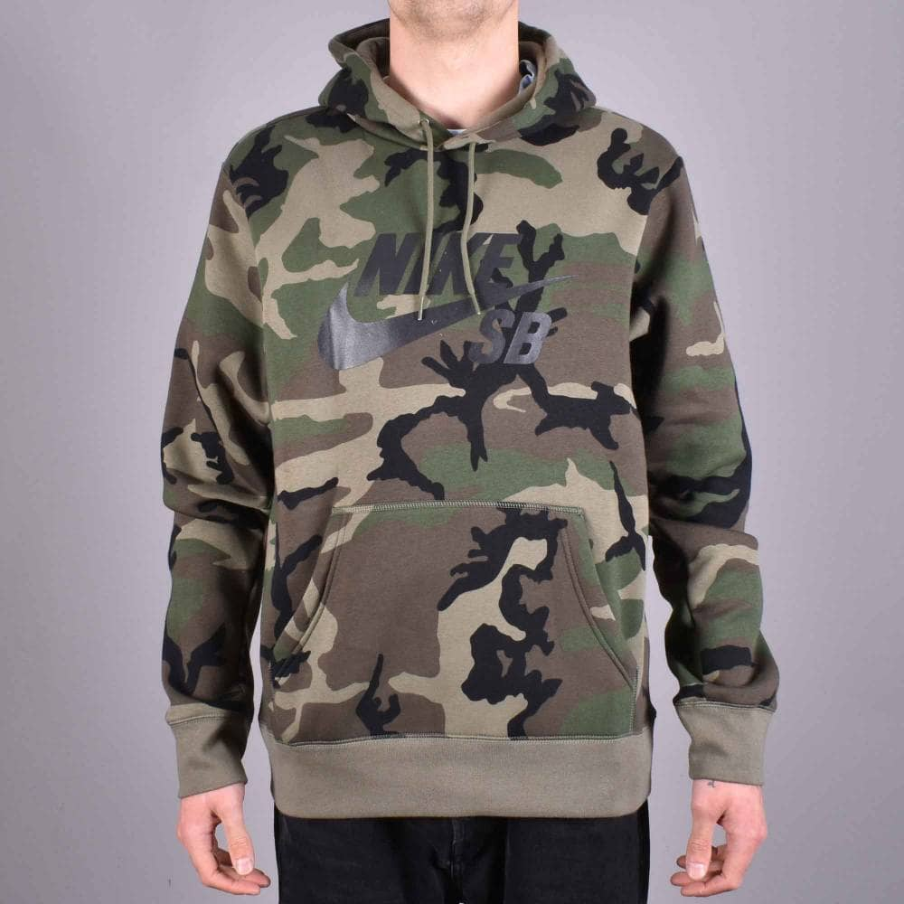 coupon code shoes for cheap discount shop Nike SB Camo SB Logo Pullover Hoodie - Medium Olive/Medium Olive/Black