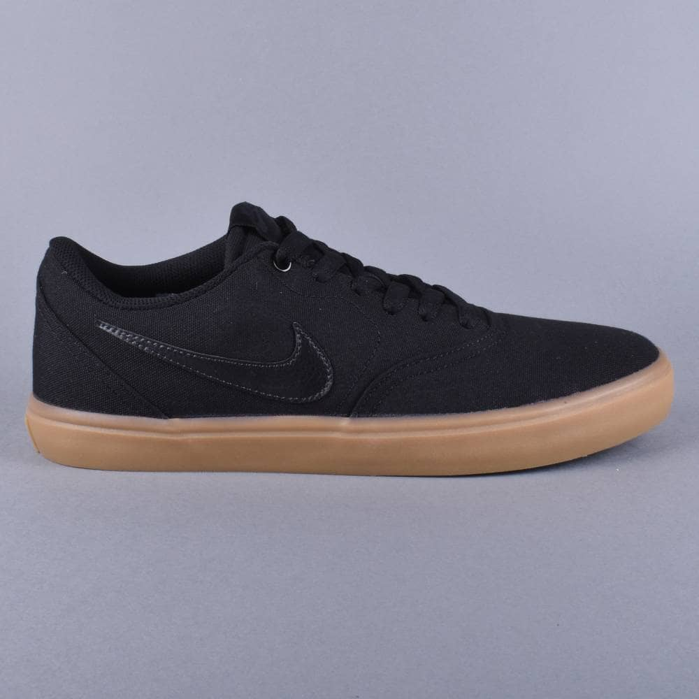 Nike SB Check Solar Canvas Skate Shoes - Black Black-Gum Light Brown ... 6838090712a9