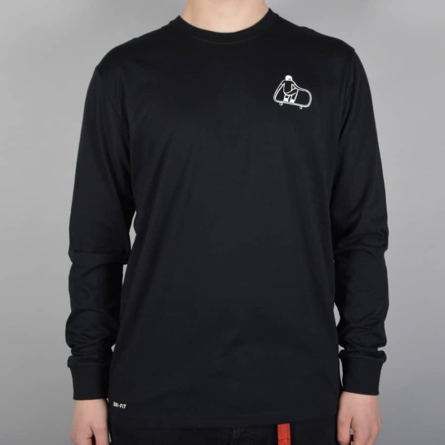Nike sb dri fit gm long sleeve t shirt black nike sb for Dri fit dress shirts