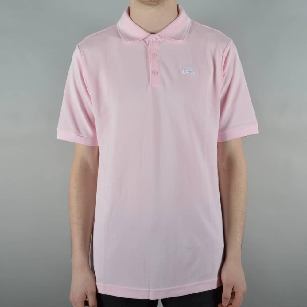 bf2ef0ec Nike SB Dry Polo Shirt - Prism Pink/White - SKATE CLOTHING from ...