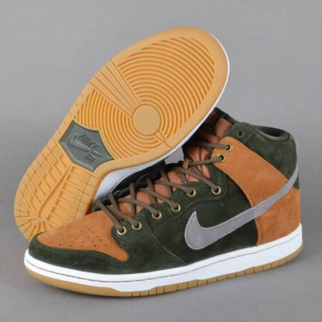 Nike SB Dunk High Premium HG QS Homegrown Skate Shoes SequoiaCool Grey Ale Brown