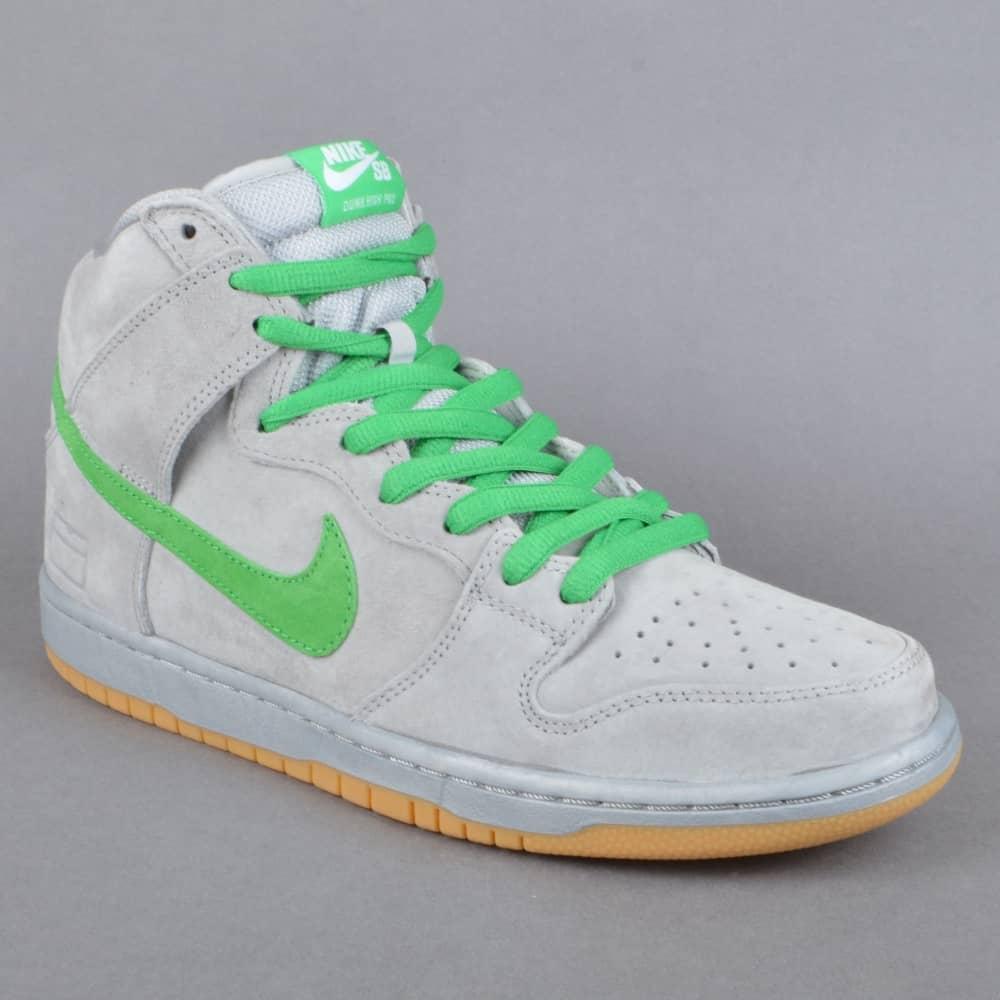 Dunk High Premium SB Skate Shoes - Metallic Silver/Hyper Verde-Gum