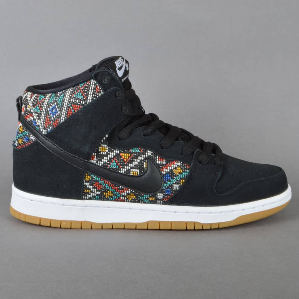 Nike SB Dunk High Premium Skate Shoes - Black Black Rio Teal-White ... 37f62019e199