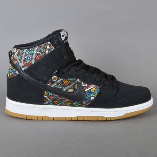 Nike SB Dunk High Premium Skate Shoes - Black/Black Rio Teal-White