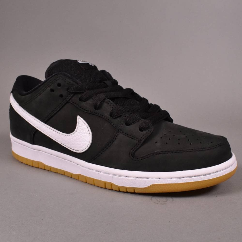 0876e4a4a96b9e Nike SB Dunk Low Pro ISO (Orange Label) Skate Shoes - Black White ...