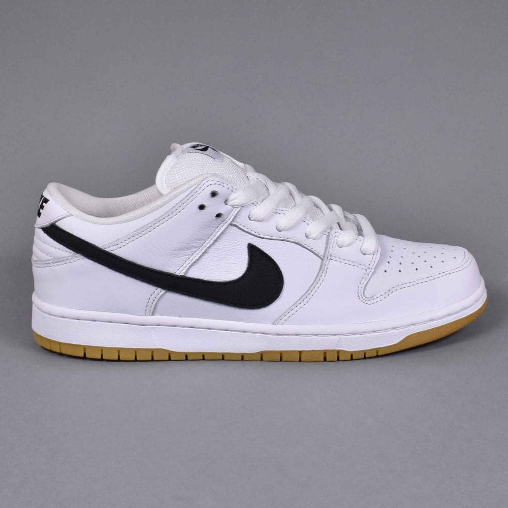 size 40 427db ddeb1 Nike SB Dunk Low Pro ISO Skate Shoes - White/Black-White-Gum Light Brown