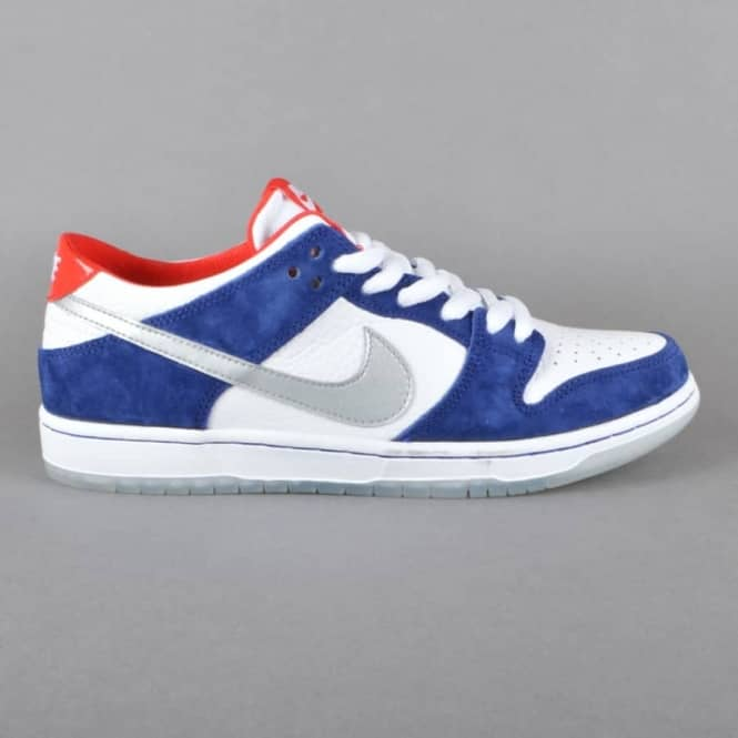 Nike SB Dunk Low Pro IW QS Skate Shoes - Deep Royal Blue/Metallic Silver-University Red