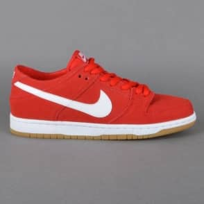 Nike SB Dunk Low Pro IW Skate Shoes - University Red/White-Gum Light Brown