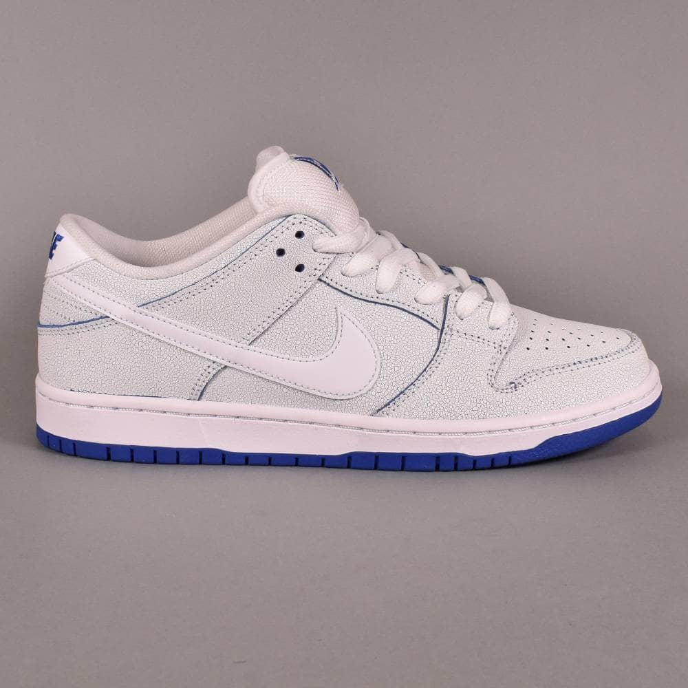 best service 4bd49 c6a4c Dunk Low Pro PRM Skate Shoes - White/White-Game Royal