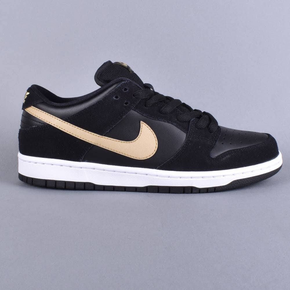 best service c283c 22032 Nike SB Dunk Low Pro Skate Shoes - Black/Metallic Gold-White