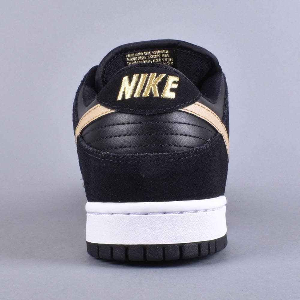 8ed147383602e7 Nike SB Dunk Low Pro Skate Shoes - Black Metallic Gold-White - SKATE ...