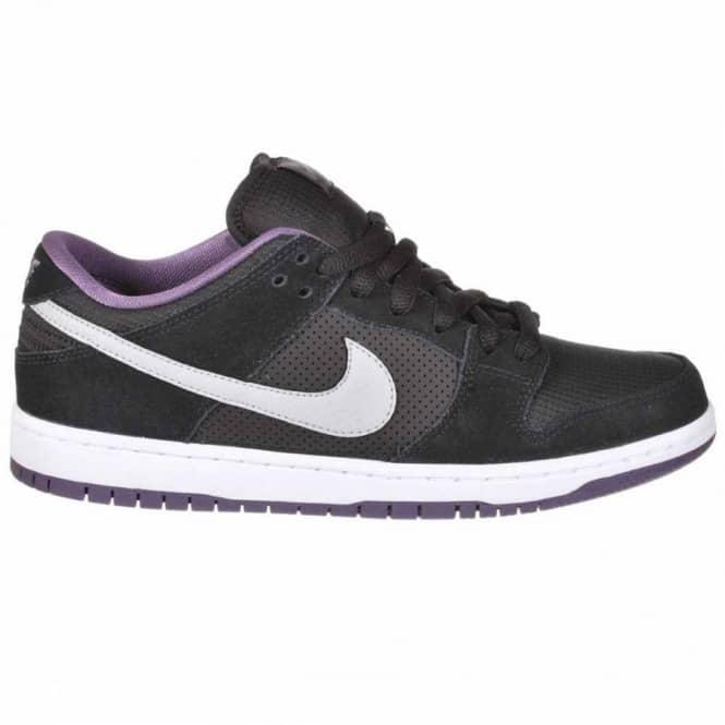 the best attitude b937f 409e8 Nike SB Dunk Low Skate Shoe - Black Wolf Grey Purple