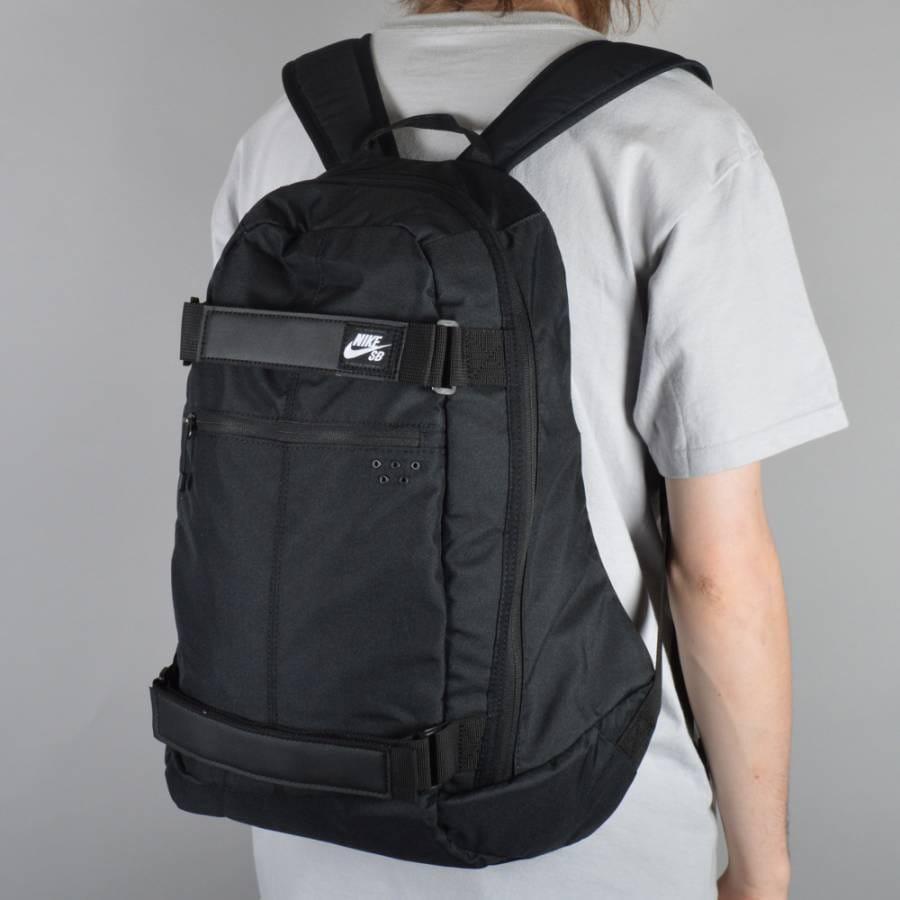 nike sb embarca medium skate backpack black black white. Black Bedroom Furniture Sets. Home Design Ideas