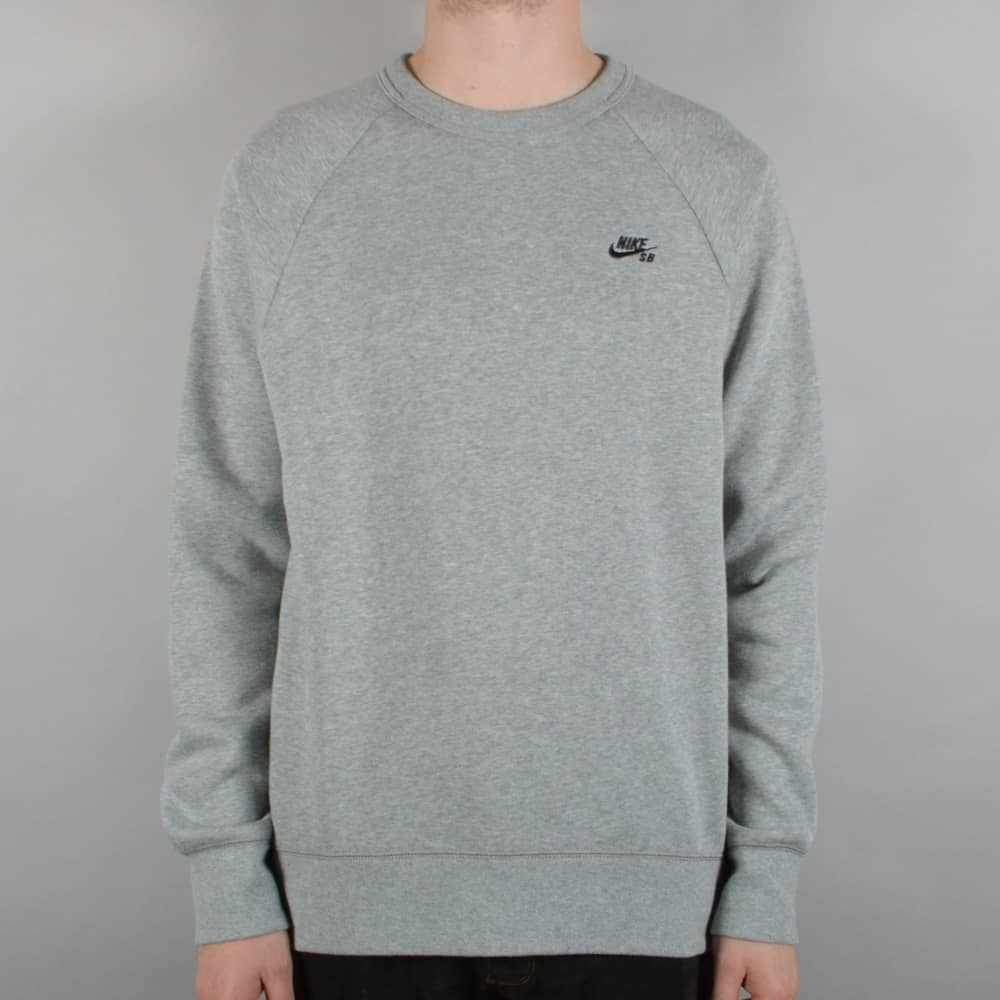 Nike Sb Icon Crewneck Fleece Dark Grey Heather Black Skate
