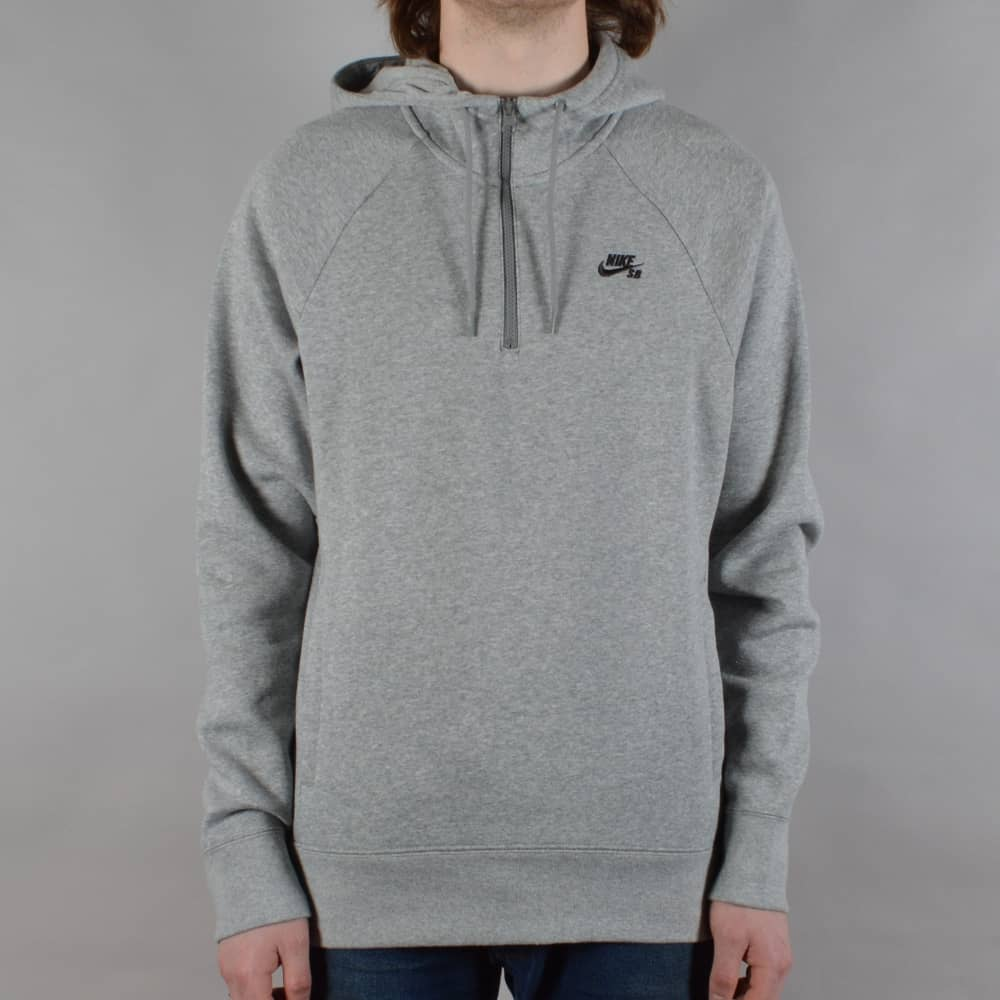 Nike SB Icon Half Zip Pullover Hoodie - Dark Grey Heather - SKATE ... 51054075b0e4
