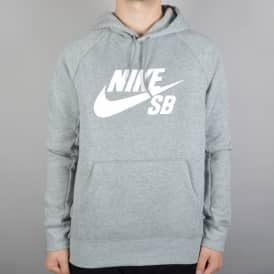 Nike SB Icon Pullover Hooded Top - Dark Heather Grey/White