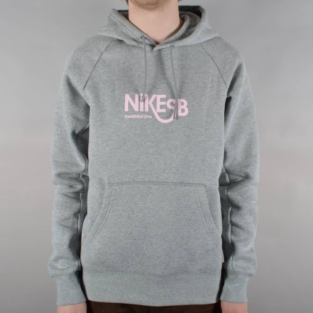 Nike SB Icon Pullover Hoodie Grey HeatherPrism Pink