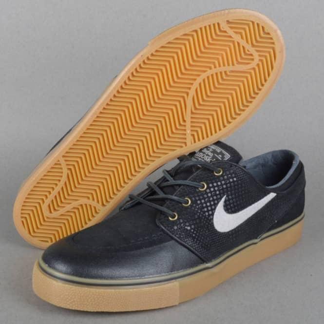 Janoski PR SE Skate Shoes - Black/Medium Grey-Gum Light Brown-Anthracite