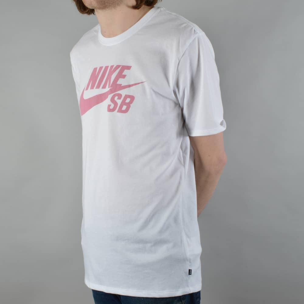 best service c90fe 4d5a3 Nike SB Logo Skate T-Shirt - White Elemental Pink