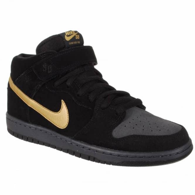 info for c3664 33cab Nike Dunk Mid Pro SB Skate Shoes - Dark Obsidian Metallic Gold-Thunder Black