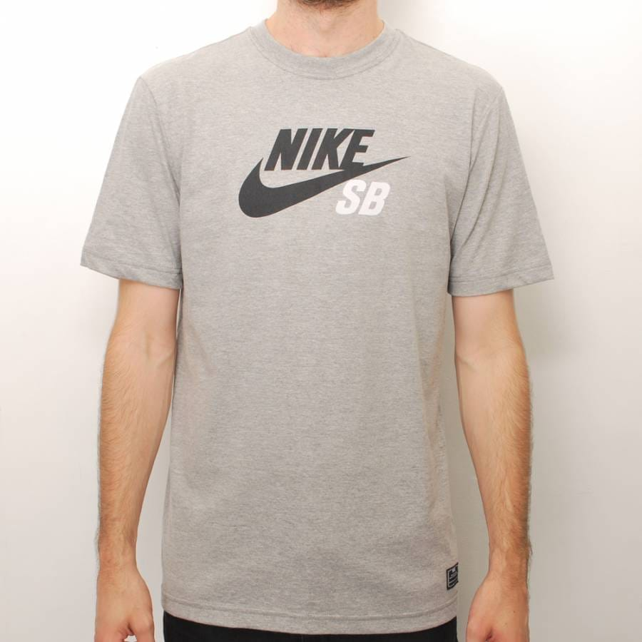 nike sb nike sb icon logo skate t shirt grey nike sb. Black Bedroom Furniture Sets. Home Design Ideas