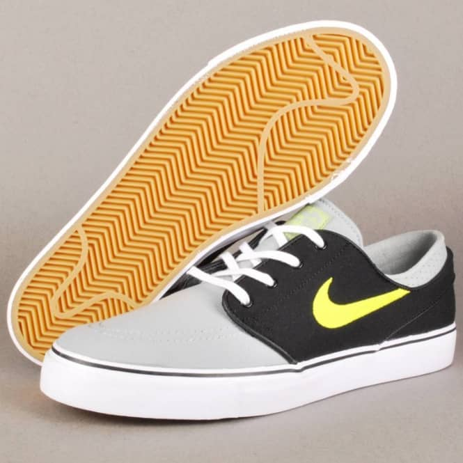 the best attitude f66b3 e4145 Nike Zoom Stefan Janoski Canvas Skate Shoes - Base Grey Venom Green-Black