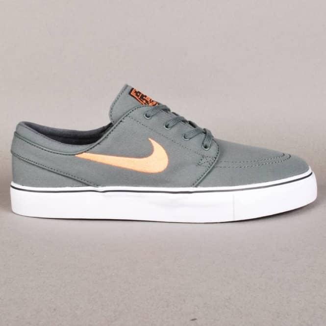 59a822f907a90 Nike Zoom Stefan Janoski Canvas Skate Shoes - Dark Mica Green Atomic Orange- Black