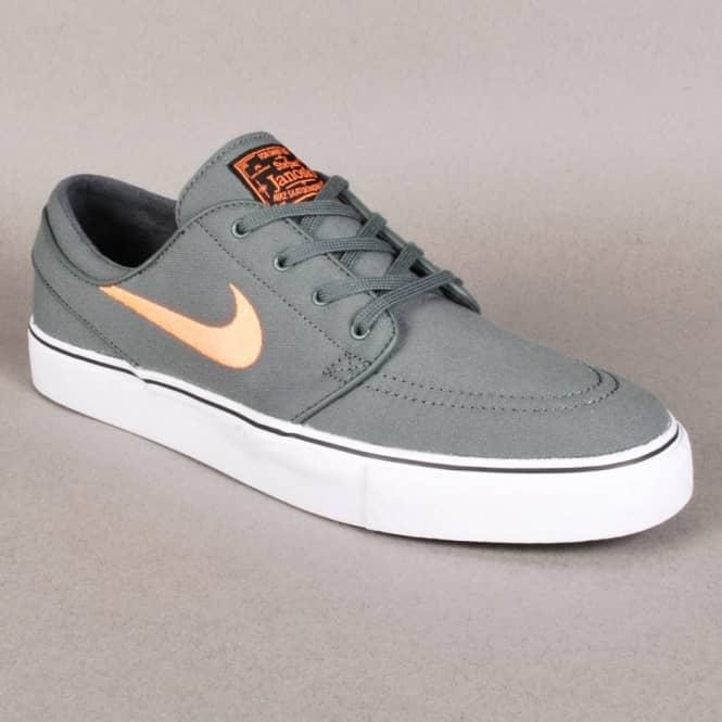 0a2c4fd54a18 Nike Zoom Stefan Janoski Canvas Skate Shoes - Dark Mica Green Atomic Orange- Black