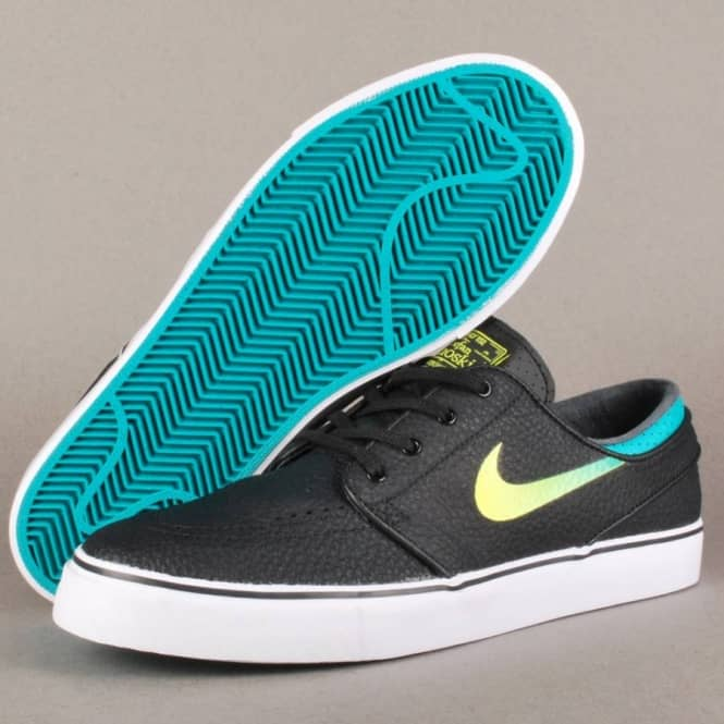 Nike SB Stefan Janoski Zoom Leather Venom Green Sneakers (Black/Venom Green-Turbo Green-White)