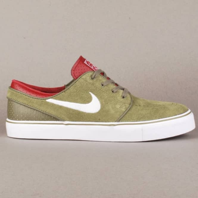 competitive price 24a14 b89b4 Nike Zoom Stefan Janoski Skate Shoes - Medium OliveWhite Team Red-Black